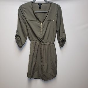 Rue21 dress, Olive Green, front zip